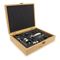 Juego vino en caja de madera 9 accesorios