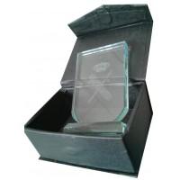 Placa Cristal con estuche y Peana Grabada a laser (61x90mm)